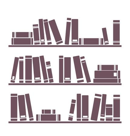 Boeken op de planken vector gewoon retro illustratie. Uitstekende voorwerpen voor decoratie, achtergrond, texturen of interieur behang geïsoleerd op een witte achtergrond.