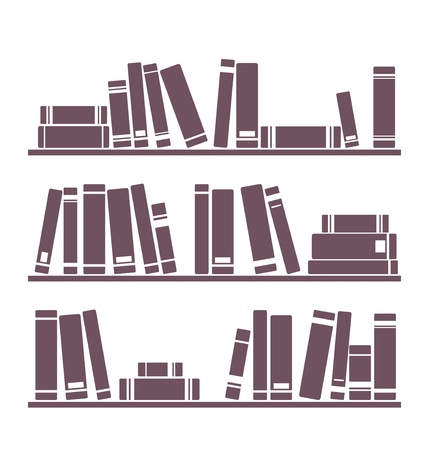 Books on the shelves vector simply retro illustration. Vintage objects for decorations, background, textures or interior design wallpaper isolated on white background.