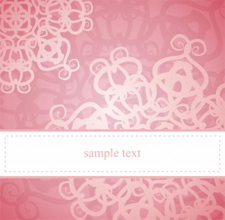 Classic elegant card or invitation for party, birthday or wedding with pink floral abstract ornament. White space to put your own text message. Stock Vector - 14441043