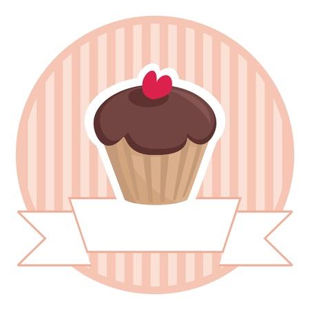 Vector retro de chocolate dulce y muffins toffi magdalena con el corazón rojo y el fondo tiras de color rosa de la vendimia con el lugar blanco para su propio texto. Botón de la invitación, el logotipo o la tarjeta de la boda aisladas sobre fondo blanco. Me encantan los dulces!