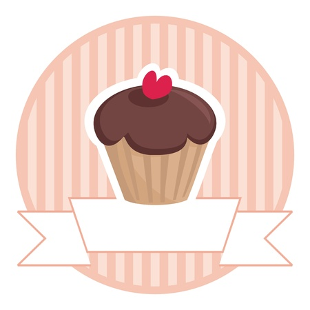 Vector sweet retro chocolate and toffi muffin cupcake with red heart and pink strips vintage background with white place for your own text. Button, logo or wedding card invitation isolated on white background. I love sweets!