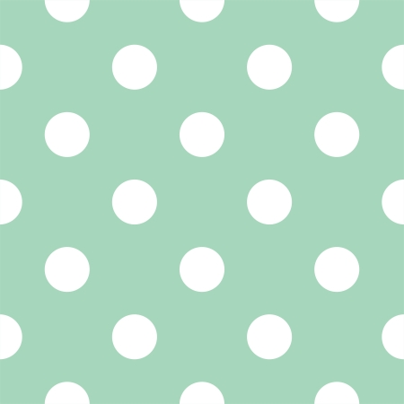 Vector seamless pattern with huge white polka dots on a retro mint green background. For cards, invitations, wedding or baby shower albums, backgrounds, arts and scrapbooks. Vector