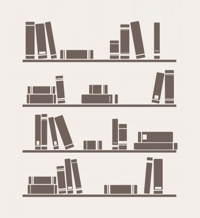 Bücher auf dem Regal einfach Vektor Retro-Illustration. Weinlese-Bibliothek Objekte für Dekorationen, Hintergrund, Texturen oder Interior Design Tapeten. Standard-Bild - 14497487