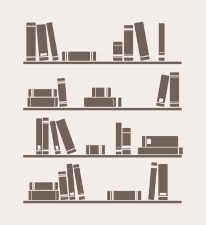public library: Books on the shelf vector simply retro illustration. Vintage library objects for decorations, background, textures or interior design wallpaper. Illustration