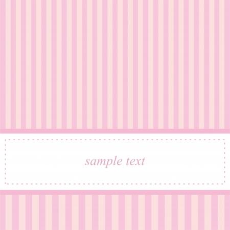 stripping: Tarjeta de invitaci�n de Vector de plantilla para el beb� partido de la ducha, una boda o un cumplea�os con rayas de color rosa beb� dulces. De fondo linda con el espacio en blanco para poner su propio texto. Ilustraci�n vectorial