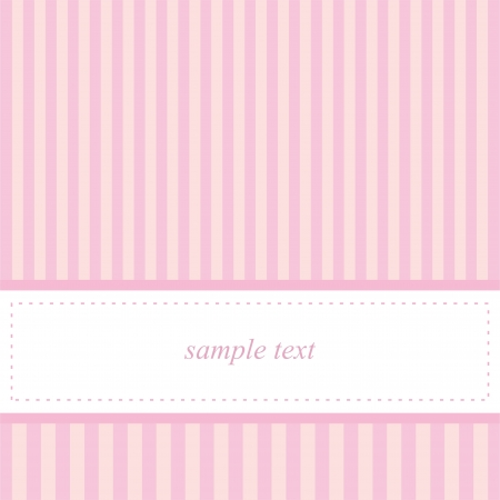 Vector card invitation template for baby shower, wedding or birthday party with sweet baby pink stripes. Cute background with white space to put your own text. Vector illustration Vector