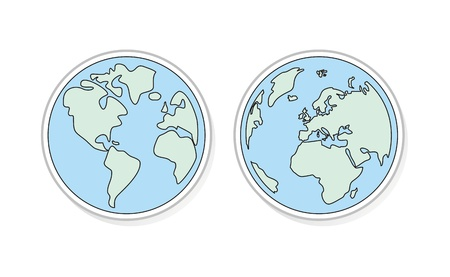 Planet Earth buttons, logo or icon green and blue vector illustration. Hand draw world globe isolated on white background with North and South America, Greenland, Africa, Europe and Asia. Stock Vector - 14539044