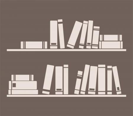 book shelf: Books on the shelves vector simply retro illustration. Vintage objects on dark chocolate brown background for decorations, textures or interior design wallpaper.