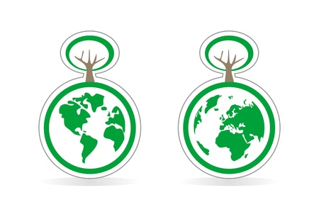 Vector eco icons globe, recycling icon and tree. World globe isolated on white background with North and South America, Greenland, Africa, Europe and Asia. Vector
