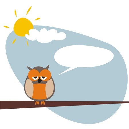 Sweet and funny sleepy talking owl on the tree at sunny day after hard night. Symbol of wisdom and school. Vector illustration