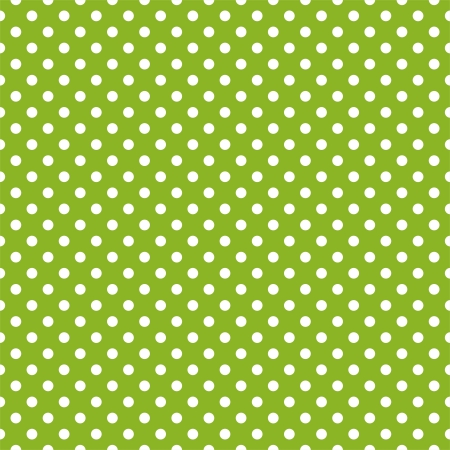 green' white: Vector seamless pattern with white polka dots on a retro fresh, spring grass green background.
