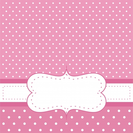 Sweet, pink polka dots card or invitation. Cute background with white space to put your own text message. Cocktail party, birthday, baby shower or wedding  Vector