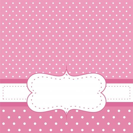 feminine background: Tarjeta de dulce, de color rosa de lunares o de la invitaci�n. De fondo linda con el espacio en blanco para poner su propio mensaje de texto. C�ctel, cumplea�os, baby shower o una boda Vectores