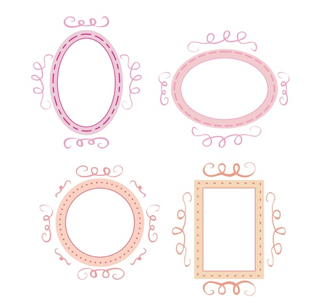 Collection of sweet retro frames on dark background. iluustration isolated on white background with empty space to put picture or text Vector