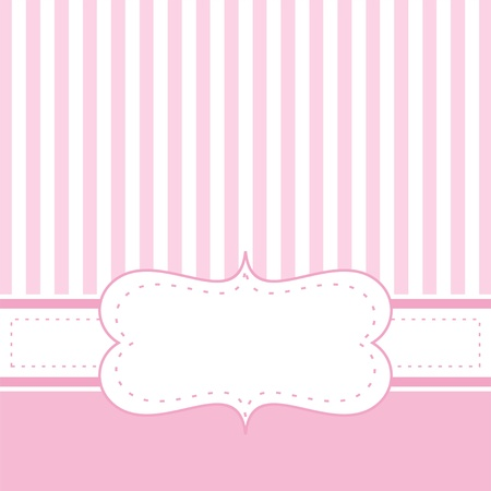 Card invitation template for baby shower, wedding or birthday party with sweet baby pink stripes. Cute background with white space to put your own text. Vector