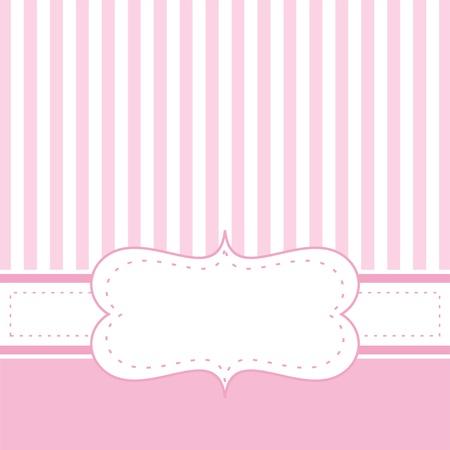 invitacion baby shower: Invitación de la tarjeta de visita para el bebé partido de la ducha, una boda o un cumpleaños con rayas de color rosa bebé dulces. De fondo linda con el espacio en blanco para poner su propio texto. Vectores