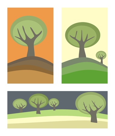 plats: 3 doodle landscapes with trees. Maybe in autumn, spring and at night.
