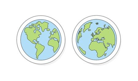 naciones unidas: Planeta Tierra botones, icono, etiqueta o logotipo. Mano dibujar ilustración vectorial garabato del globo del mundo aislado en fondo blanco con América del Norte y del Sur, Groenlandia, África, Europa y Asia.