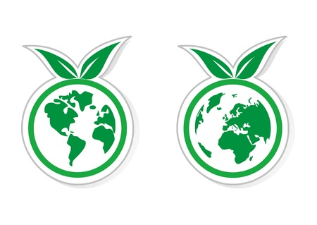 Vector eco recycling icon, logo, sign or sticker with green leaf  World globe isolated on white background with shadow and both globes  North and South America, Greenland, Africa, Europe and Asia  Vector