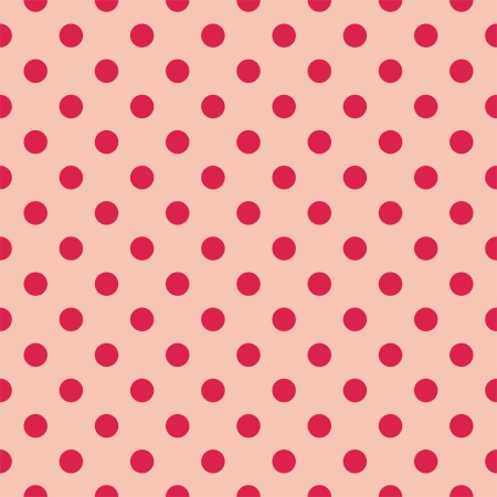 Red polka dots on baby pink background - retro seamless vector pattern for backgrounds, blogs, www, scrapbooks, party or baby shower invitations and wedding cards Stock Vector - 14788420