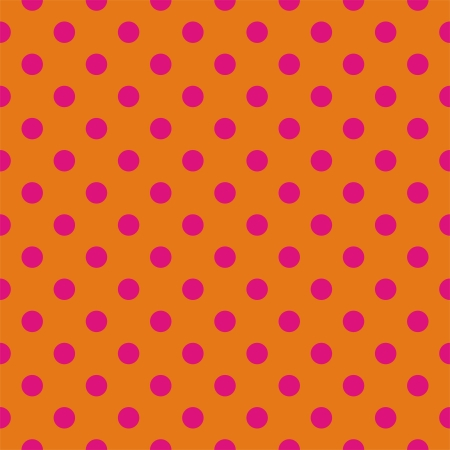 Retro vector pattern with psychedelic pink polka dots on orange background - retro seamless pattern for backgrounds, blogs, www, scrapbooks, party or baby shower invitations and wedding cards. Ilustracja