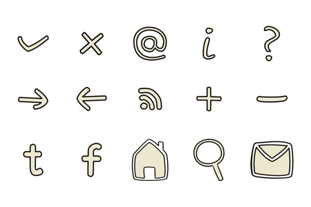Doodle icons - arrow, home, rss, search, mail, ask, plus, minus. web tools symbols set isolated on white background Vector