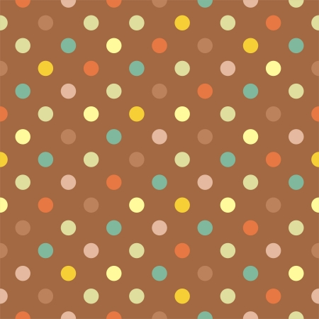 Retro  pattern with blue, yellow, green and red polka dots on neutral brown background - retro seamless pattern for backgrounds, blogs, www, scrapbooks, party or baby shower invitations and wedding cards. Vector