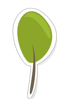 tree logo: tree - eco recycling design element, icon, logo, sign or sticker  Green simply hand-drawn doodle tree isolated on white background with shadow
