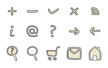 Doodle icons - arrow, home, rss, search, mail, ask, plus, minus  Vector web tools symbols set isolated on white background Ilustracja