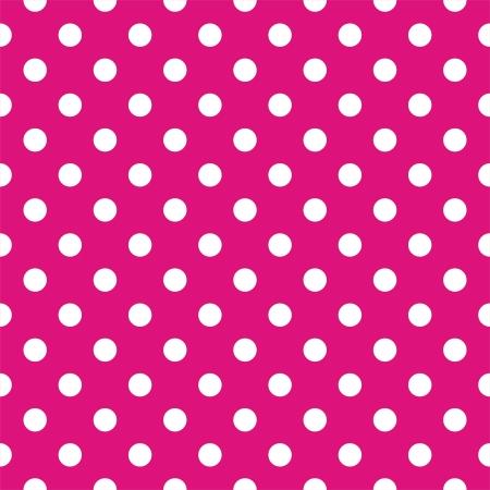 polka dot fabric: Vector seamless pattern a pois bianchi su sfondo rosa neon Per le schede, album, sfondi, arte, artigianato, tessuti, decorazione o scrapbooks