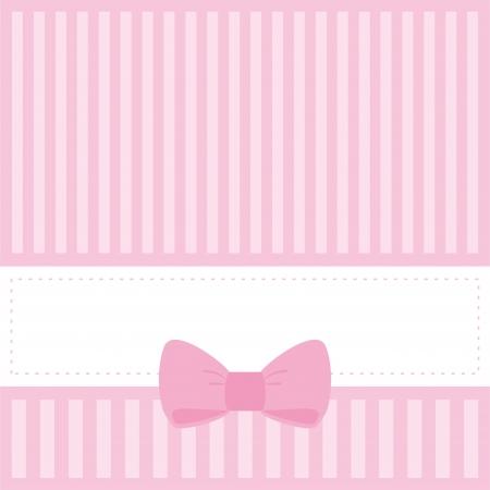 핑크 카드 또는 줄무늬와 달콤한 활 베이비 샤워, 결혼식이나 생일 파티에 초대. 자신 만 텍스트를 넣어 공백으로 귀여운 배경. 벡터 일러스트 레이 션 일러스트