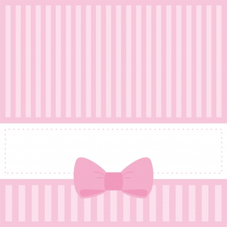 Pink card or invitation for baby shower, wedding or birthday party with stripes and sweet bow. Cute background with white space to put your own text. Vector illustration Vector