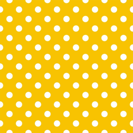 Modèle vectoriel sans soudure avec des pois blancs sur un fond jaune soleil. Pour les albums de douche cartes, invitations, mariage ou bébé, arrière-plans, des arts et des albums.