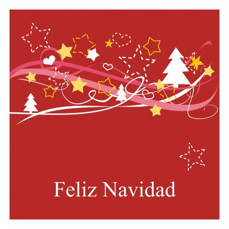 feliz: Feliz Navidad! Espanol - spanish Christmas card or invitation in red with christmas tree, stars and hearts