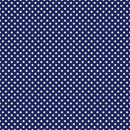 seamless pattern with white polka dots on a sailor navy dark blue background. Vector
