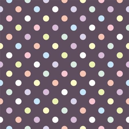 Colorful pastel polka dots on dark brown background  Ilustracja