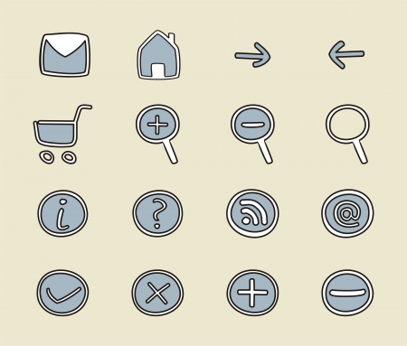 Doodle icons - arrow, home, rss, search, mail, ask, plus, minus.  web tools signs or symbols set. Vector