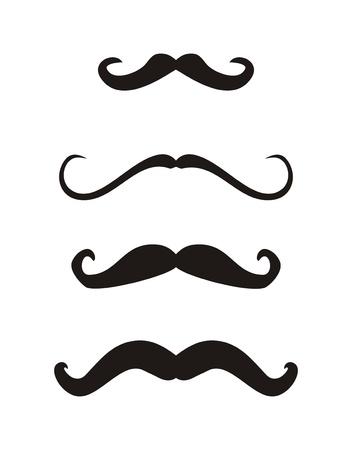 bigote: Conjunto de bigotes rizados de �poca retro Gentelman - ilustraci�n aislada en el fondo blanco Vectores