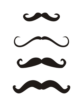 Set of curly vintage retro gentelman mustaches - illustration isolated on white background
