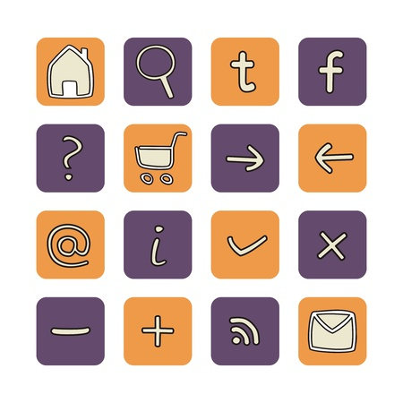 Doodle icons - arrow, home, rss, search, mail, ask, plus, minus, shop, back, forward. Web tools symbols button set. Illustration