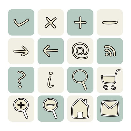 Doodle icons - arrow, home, rss, search, mail, ask, plus, minus, shop, back, forward. web tools symbols button set. Stock Vector - 15345235