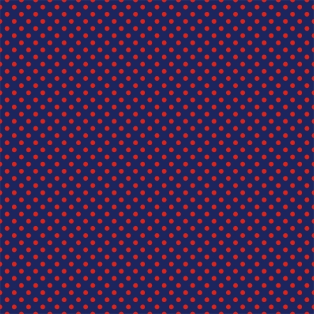Vector seamless pattern with red polka dots on a sailor navy blue background. For cards, invitations, wedding or baby shower albums, backgrounds, arts and scrapbooks. Vector