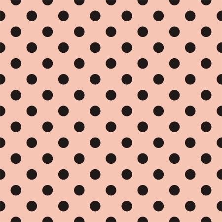 patrón transparente con lunares negros sobre un fondo rosa pastel. Para las tarjetas, álbumes, fondos, artes, artesanías, tejidos, decoración o libros de recuerdos. Ilustración de vector