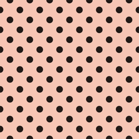 polka dots: seamless pattern with black polka dots on a pastel pink background. For cards, albums, backgrounds, arts, crafts, fabrics, decorating or scrapbooks. Illustration
