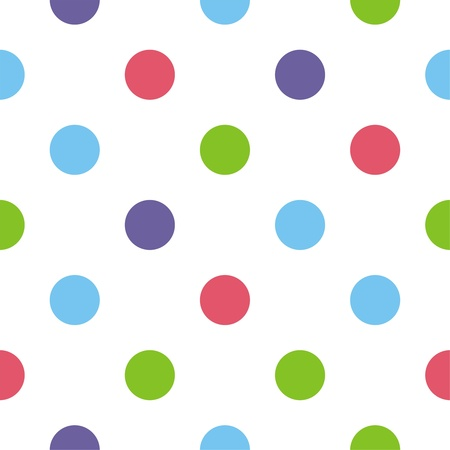 repetition row: Colorful polka dots on white background - retro seamless winter pattern for backgrounds, blogs, www, scrapbooks, party or baby shower invitations and elegant wedding cards.