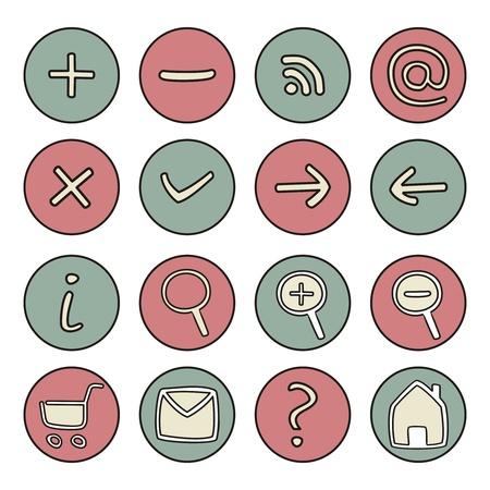 cartoon house: Doodle icons - arrow, home, rss, search, mail, ask, plus, minus, shop, back, forward. Vector web tools symbols button set.