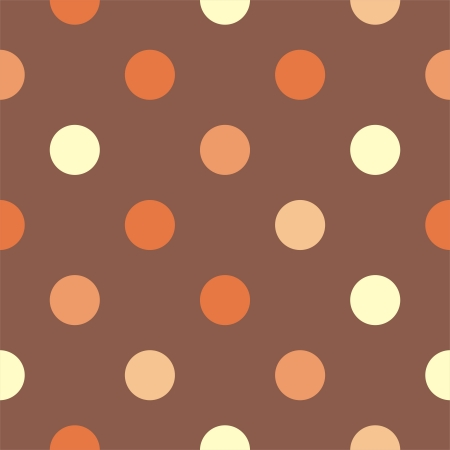 repetition row: Retro vector pattern with yellow, orange and red polka dots on neutral brown background - retro seamless autumn pattern for backgrounds, blogs, www, scrapbooks, party or baby shower invitations and wedding cards.