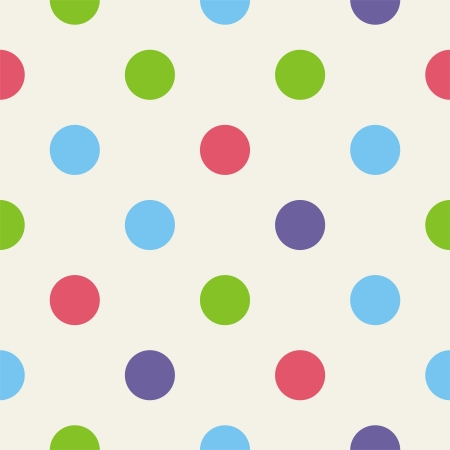 Colorful polka dots on light beige, neutral background -