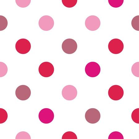 Seamless vector patrón lunares rosados ??y rojos sobre fondo blanco