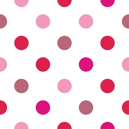 polka dots:  Seamless vector pattern pink and red polka dots on white background